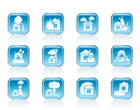 home and house insurance and risk icons - vector icon set Stock Vector - 12853084