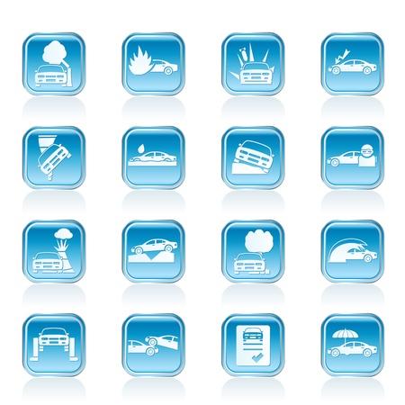 Auto und Verkehr Versicherungs-und Risikomanagement Icons - Vector Icon Set Vektorgrafik