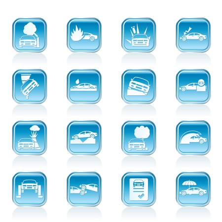 insurance protection: car and transportation insurance and risk icons - vector icon set