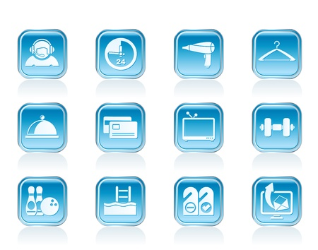 hotel and motel amenity icons vector icon set Vector