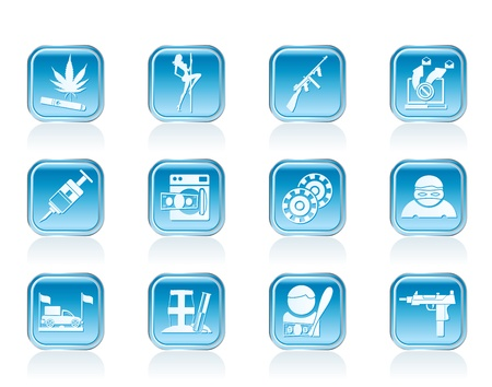laundering: mafia and organized criminality activity icons - vector icon set Illustration
