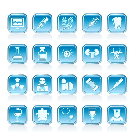 Healthcare, Medicine and hospital icons - vector icon set Stock Vector - 13006904