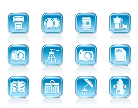 Photography equipment icons - vector icon set Vector