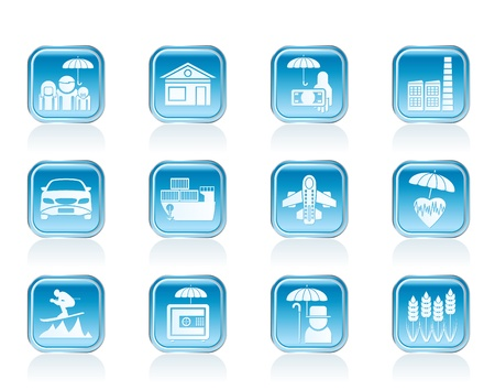 different kind of insurance and risk icons - vector icon set Vetores