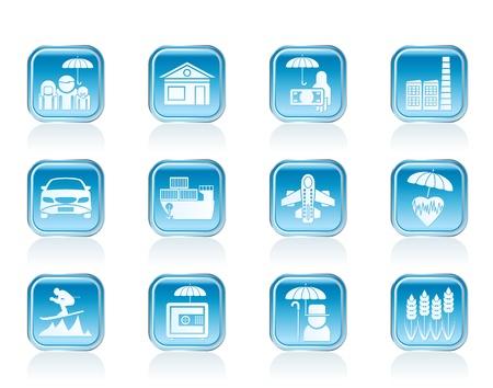 verschillende soorten verzekeringen en risico iconen - vector icon set Vector Illustratie