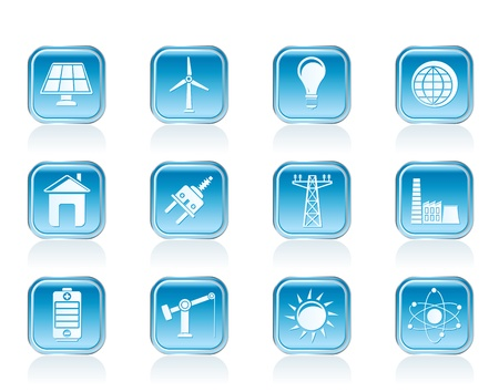 power, energy and electricity icons - vector icon set Stock Vector - 13006880
