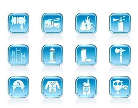 borne fontaine: sapeurs-pompiers et pompiers équipements icône - vecteur icône ensemble Illustration
