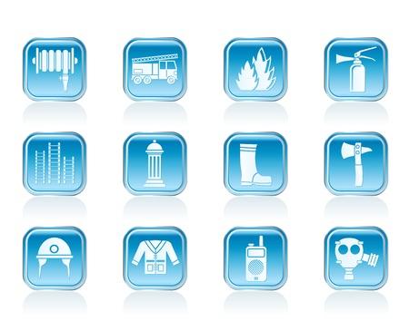 fire engine: vigili del fuoco e vigile del fuoco attrezzature icon - Vector Icon Set