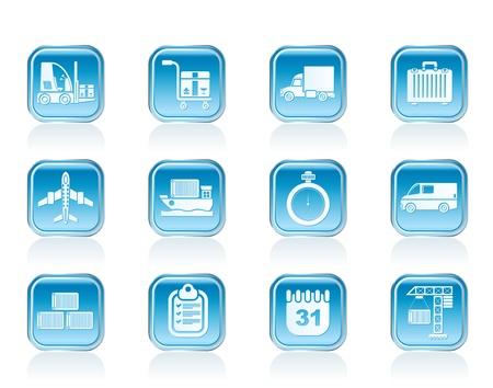 embarque: log�stica, transporte mar�timo y el transporte iconos - conjunto de icono de vector