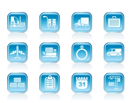 logistics, shipping and transportation icons - vector icon set Stock Vector - 13006899