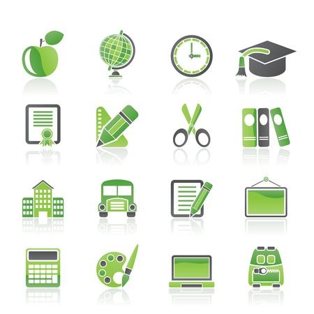 iconos educacion: la escuela y la educaci�n de los iconos - conjunto de icono de vector