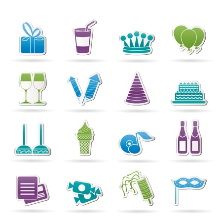 retreat: birthday and party icons - vector icon set