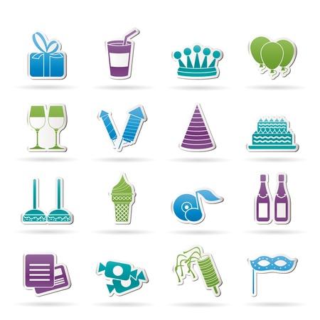 rekolekcje: urodziny i stroną ikony - Icon Set wektor