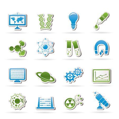 fizika: a tudomány, a kutatás és az oktatás ikonok - vektor Icon set Illusztráció