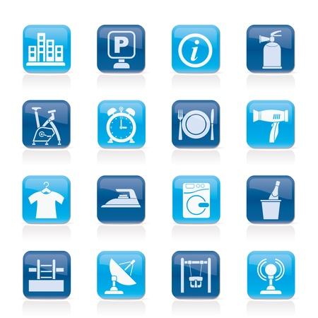 laundry hanger: Del hotel y los viajes iconos conjunto - vector icono Vectores