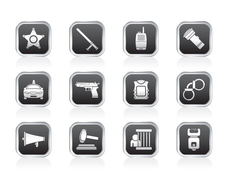 law, order, police and crime icons Stock Vector - 13099146