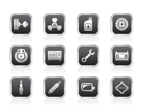 piezas coche: Piezas de autom�viles y iconos Servicios Vectores