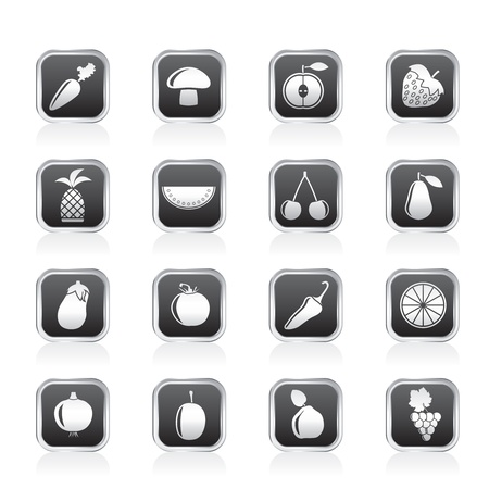button mushroom: Different kinds of fruits and Vegetable icons  Illustration