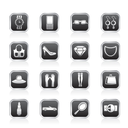 woman and female Accessories icons Vector
