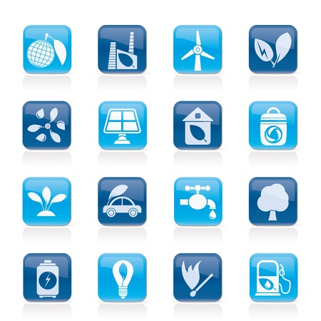 Green, Environment and ecology Icons  Stock Vector - 13099234