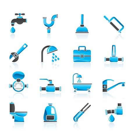 loodgieterswerk: sanitair voorwerpen en gereedschappen iconen Stock Illustratie