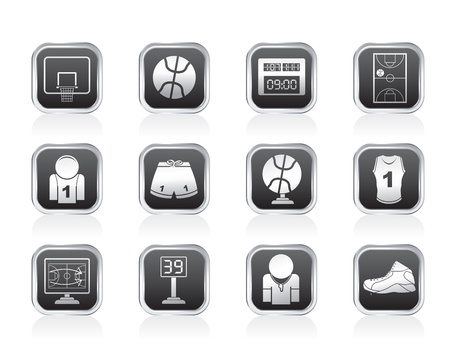 scoreboard timer: Basketball and sport icons - vector Icon Set
