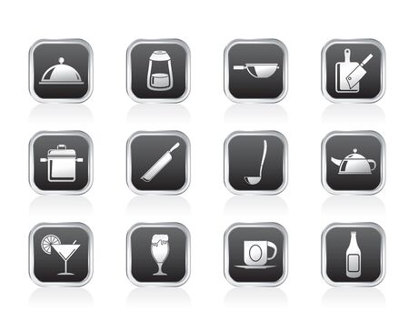 Restaurant, cafe, food and drink icons - vector icon set Stock Vector - 13183339