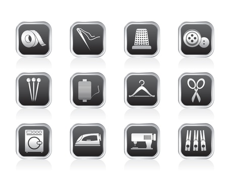 Textile objects and industry   icons - vector icon set Vector
