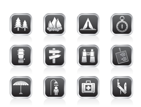 Camping, travel and Tourism icons - vector icon set Stock Vector - 13183345