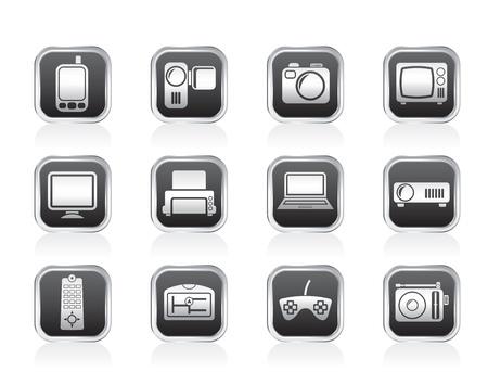 Hi-tech technical equipment icons - vector icon set Illustration