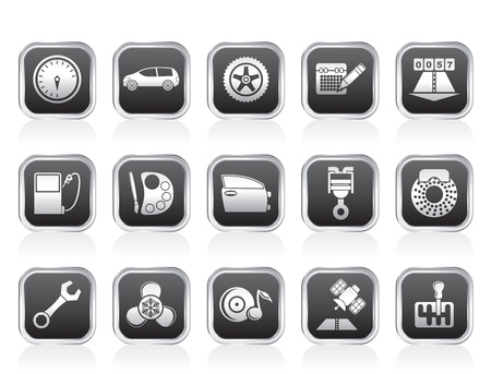 car part: car parts, services and characteristics icons - vector icon set