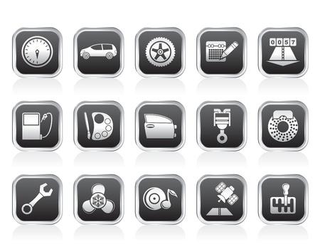 freins: pi�ces automobiles, les services et les ic�nes caract�ristiques - jeu d'ic�nes vecteur Illustration