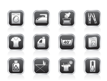 Washing machine and laundry icons - vector illustration Vector