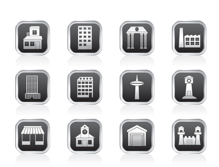 different kind of building and City icons - vector icon set Stock Vector - 13183343