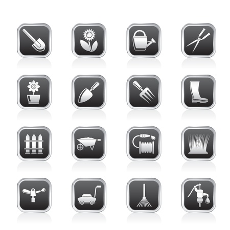 water hoses: Garden and gardening tools and objects icons - vector icon set Illustration