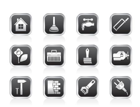 plumber with tools: construcci�n y bricolaje iconos - conjunto de icono de vector