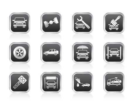 breakage: auto service and transportation icons - vector icon set