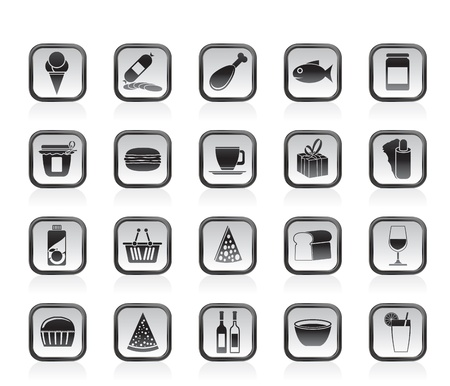 meat icon: Shop and Foods Icons - Vector Icon Set Illustration