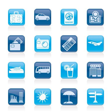 Travel and vacation icons - vector icon set Vector