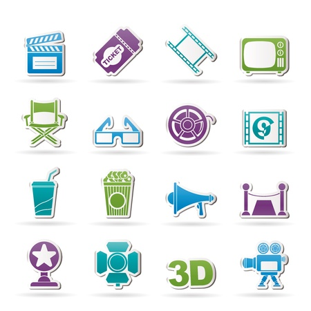 Cinema and Movie icons- vector icon set Vector