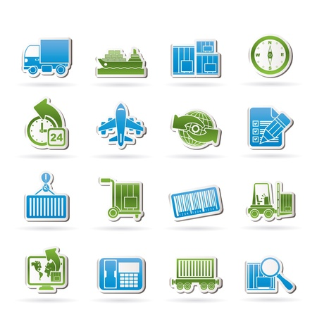 water transportation: shipping and logistics icons - vector icon set Illustration