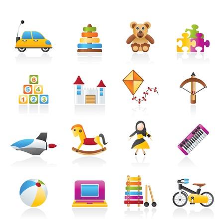 jouet: diff�rents types d'ic�nes jouets - jeu d'ic�nes vecteur Illustration