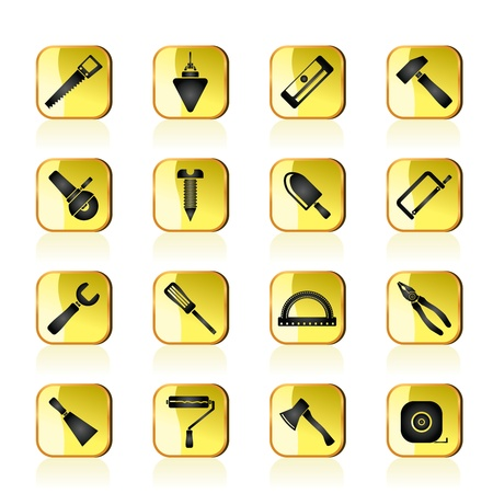 Construction and Building Tools icons Stock Vector - 13295662