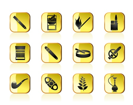 Smoking and cigarette icons Vector Illustration