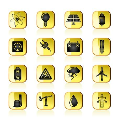 Icônes de l'industrie électrique et de l'électricité Vecteurs