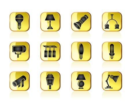 осветительное оборудование: различные виды осветительного оборудования Иллюстрация