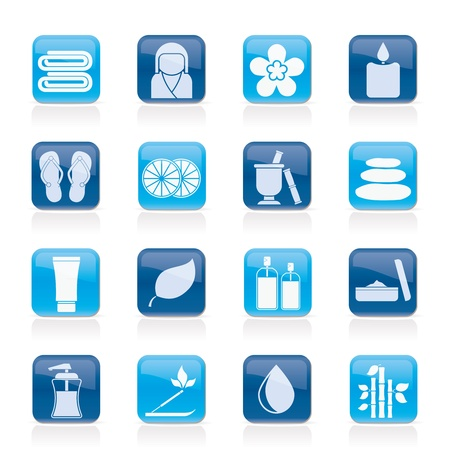 therapeutic: Spa objects icons icon set Illustration