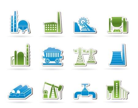 oil pipeline: Los iconos de la industria pesada conjunto de iconos Vectores