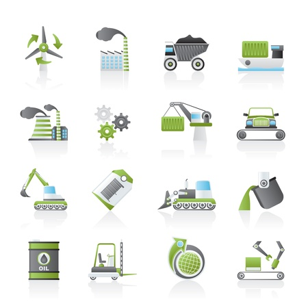different kind of business and industry icons icon set Vector