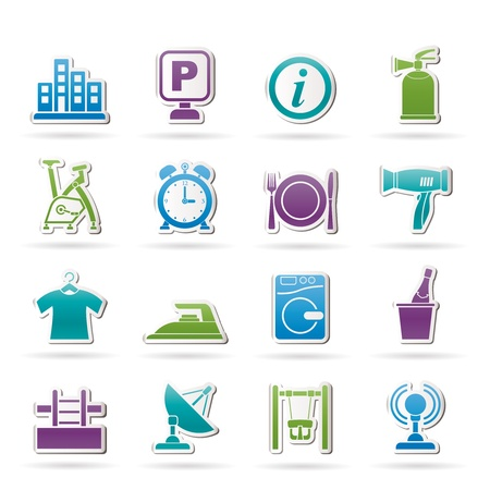 laundry room: Hotel and travel icons icon set